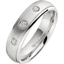 Verigheta/Inel cu Diamant Barbat Aur Alb 18kt cu 3 Diamante Rotunde, Profil Rotunjit